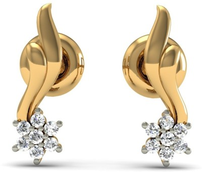 R S Jewels Creative Designs Yellow Gold 18kt Diamond Stud Earring at flipkart