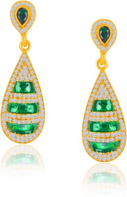 VK Jewels New Look Green Zinc Drop Earring at flipkart