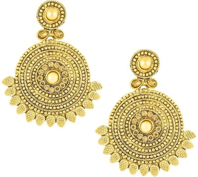 Shining Jewel Tradtional Antique Ram Leela Bali Cubic Zirconia Brass Chandbali Earring  available at flipkart for Rs.285