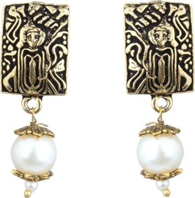 Waama Jewels Elegant Pair Of Earring Adorned With White Pearls Pearl Brass Drops   Danglers Waama Jewels Earrings