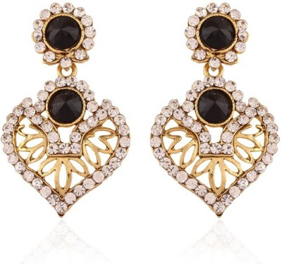 Rich Lady Black Resplendent Gold Plated Alloy Chandelier Earring