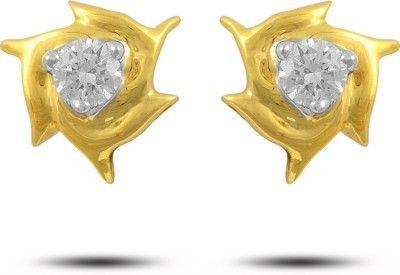 P.N.Gadgil Jewellers Flamingo Yellow Gold 18kt Diamond Stud Earring(Yellow Gold Plated) at flipkart
