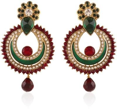 I Jewels Peacock Shaped Meenakari Alloy Chandbali Earring