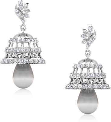 IskiUski Fiona White Gold 14kt Swarovski Crystal Jhumki Earring