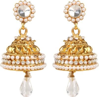 Shining Jewel 24K Designer Temple Jhumki Pearl, Crystal Copper Jhumki Earring  available at flipkart for Rs.264