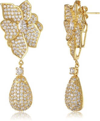 Shaze Luxe Floral Brass Drop Earring at flipkart