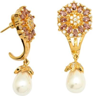 YugshaJewels Ethnic Kundan Ruby, Emerald, Cubic Zirconia Brass Drop Earring