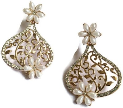 Fabula Gold & White Pearl Traditional Ethnic Jewellery Floral Filigree for Women, Girls & Ladies Metal Dangle Earring at flipkart