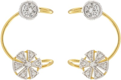 Jewels Guru Diva Style Cubic Zirconia Brass Cuff Earring at flipkart