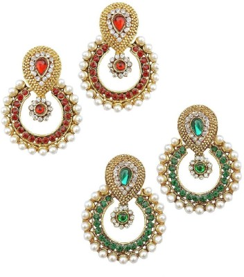 You Bella Combo of Red, Green and Pearls Alloy Chandbali Earring at flipkart
