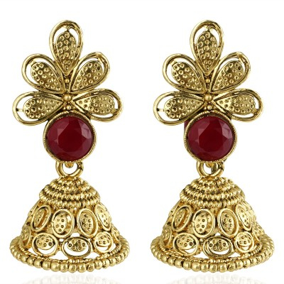 Spargz Indian Traditional Gold Plated Jhumka For Women Diamond Brass Jhumki Earring  available at flipkart for Rs.249