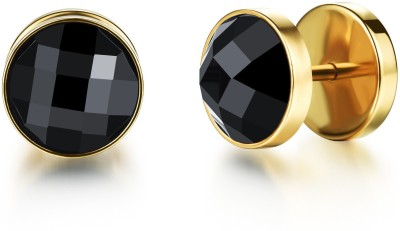 Yellow Chimes Black Crystal Stainless Steel Stud Earring at flipkart