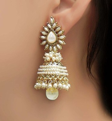 Shining Diva Bollywood Movie Aashiqui 2 Inspired Beads Polki White Pearl Alloy Jhumki Earring at flipkart