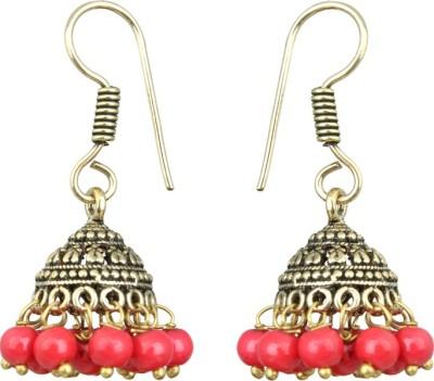 Waama Jewels Elegant Pair Of earring Adorned With Red Pearls Pearl Brass Jhumki Earring Waama Jewels Earrings