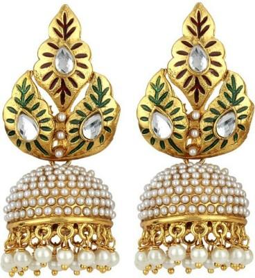 RB Jewels Gold Leaf Diamond Alloy Earring Set at flipkart