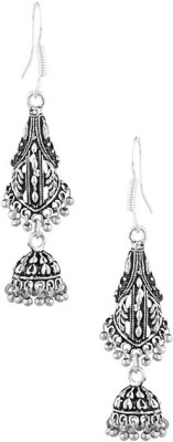 Gemshop Jhumki Drop Design Oxidized Silver Tone Alloy Dangle Earring