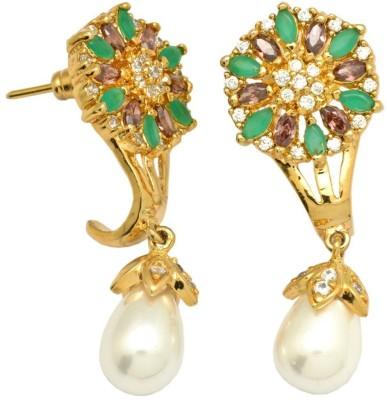 YugshaJewels Elegant YJE-1428 Ruby, Emerald, Pearl, Cubic Zirconia Brass Drop Earring