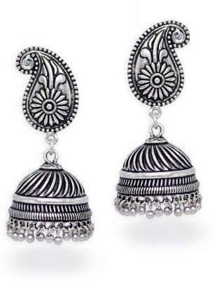 Jaipur Mart Silver Tone Oxidised Designer Jhumki Jhumka Earrings For Women Br Earring