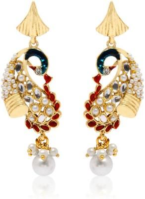 Jewels Guru Peacock Designed Kundan Earrings With Pearl Drop Copper Dangle Earring at flipkart