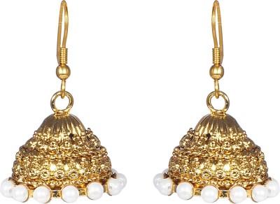 CTW Golden Studded Pearl Elegant Jhumka Alloy Jhumki Earring  available at flipkart for Rs.175
