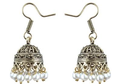 Waama Jewels White Festive Wear for Women colored fashion jewellery Pearl Brass Jhumki Earring Waama Jewels Earrings