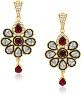 VK Jewels Teardrop Glamour Diamond Zinc Drop Earring at flipkart