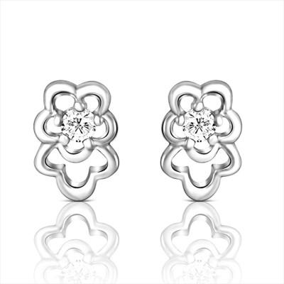 Mahi Bellarine Pea Cubic Zirconia Silver Stud Earring at flipkart