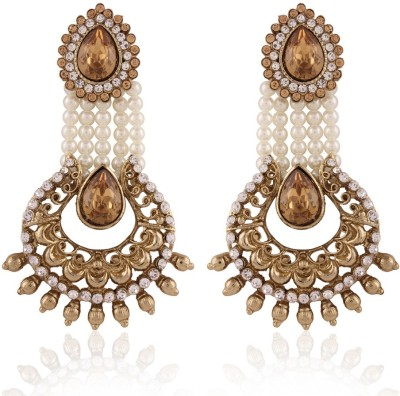 I Jewels pearl Alloy Chandbali Earring I Jewels Earrings