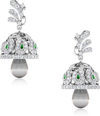 IskiUski Janamastmi White Gold 14kt Swarovski Crystal Jhumki Earring(Platinum Plated) at flipkart