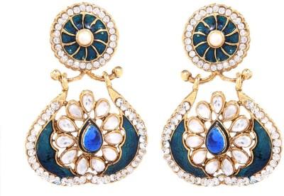 GoldNera Floral Kundan Alloy Drops   Danglers GoldNera Earrings