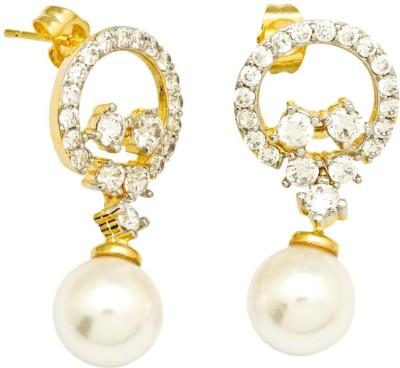 YugshaJewels Elegant YJE-1442 Ruby, Cubic Zirconia Brass Drop Earring