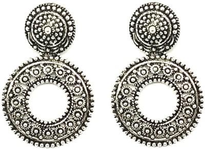 GoldNera Antique Silver Round Drop Shape Earring Party Daily Office Wear Alloy Drops   Danglers GoldNera Earrings