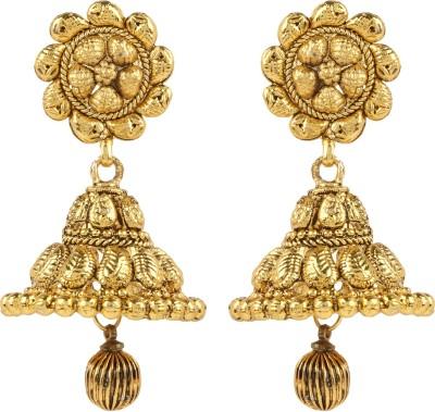 Shining Jewel 24K Designer Temple Jhumki Copper Jhumki Earring  available at flipkart for Rs.264
