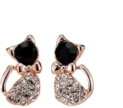 Kundaan Cute Cat Designer Crystal Alloy Stud Earring at flipkart