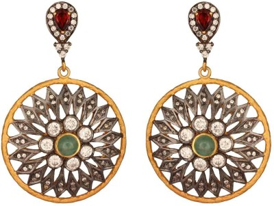 Mirror White Chrysanthemum Sterling Silver Drops & Danglers at flipkart
