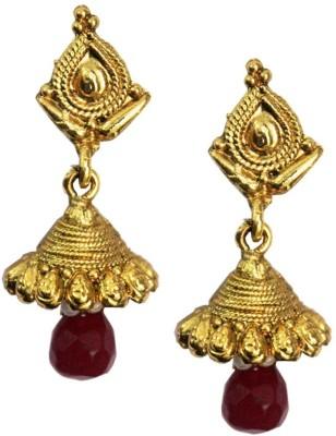 The Indian Handicraft Store Tear drop Purple Beads Earring Alloy Drop Earring