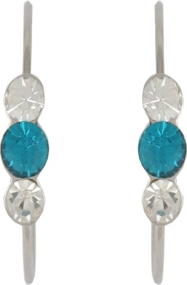 Diovanni Tripple Stone Silver Blue Crystal, Alloy Hoop Earring at flipkart