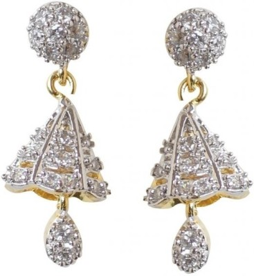 Rajwada Arts Trendy American Diamond Brass Jhumki Earring at flipkart