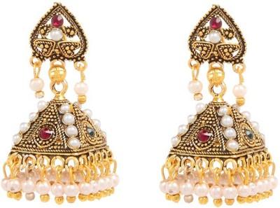 GoldNera Triangular Pearl Alloy Jhumki Earring GoldNera Earrings