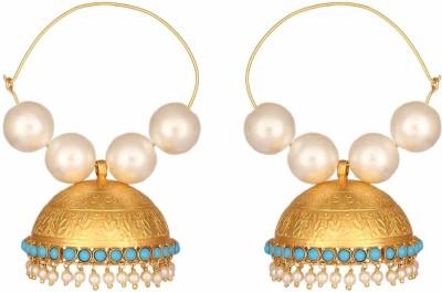 Mirror White Maharani Turquoise Jhumki Silver Jhumki Earring at flipkart