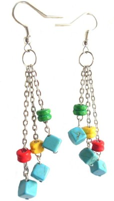 Bohocraft Bohemian Square Turquoise Wooden dumbbells Tasseled Silver Wood Dangle Earring  available at flipkart for Rs.230