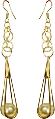 Fashion Frill Long Pearl Alloy Dangle Earring at flipkart