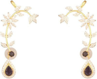 Mirror White Eye-Catching Iolite Silver Cuff Earring at flipkart
