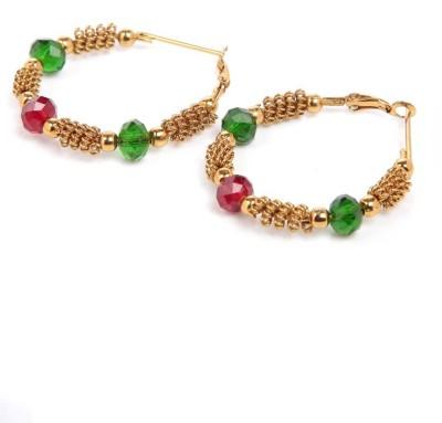 GoldNera Mesh Beaded Design Alloy Hoop Earring GoldNera Earrings