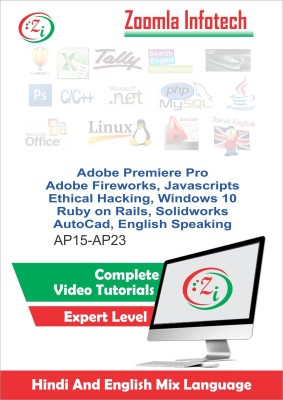 Zoomla Infotech Learn Adobe Premiere Pro CC 2015 FireworksCS6 Javascript Ethical Hacking Windows10, Ruby on Rails Solidworks Autocad and English Video Tutorials through DVD in Hindi, Total Tutorials 321, Duration 31.5 Hours(DVD)