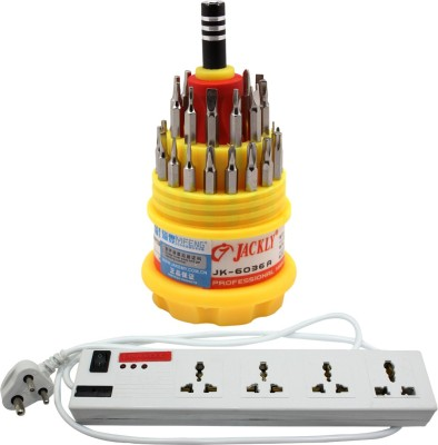 Pinnacle 6 Socket 1 Switch 3 Meter Cord Deluxe Series + Jackly Multi screwdriver set of 2 Electrical Combo(Pack of 2)  available at flipkart for Rs.570