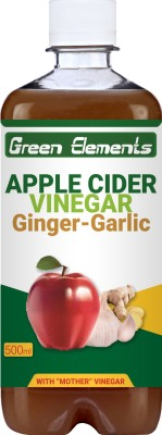 Green Elements Apple Cider Vinegar with Natural Ginger & Garlic Juice, Mother Vinegar, Raw & Unfiltered Sports Drink(500 ml Pack of 1)