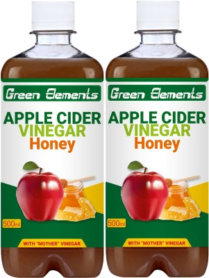 Green Elements Apple Cider Vinegar with Natural Honey and Mother Vinegar, Raw & Unfiltered Sports Drink(1000 ml Pack of 2)