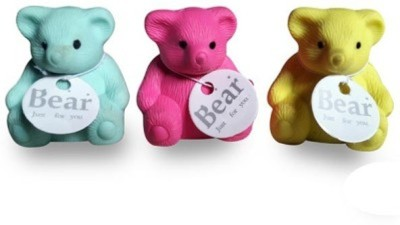 Global Gifts ERASER,RUBBER Non-Toxic TEDDY Shaped SMALL Erasers(Set of 3, Multicolor)