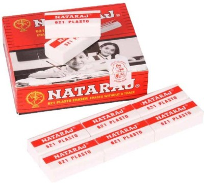 Natraj 621 Non-Toxic Rectangle Shaped Medium Erasers(Set of 5, White)